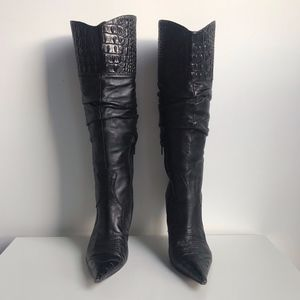 Aldo Black Leather Stiletto Knee High Boots